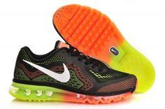 US$ 78.59  #Nike #Air #Max #2014 #Running #Shoes #Black #Orange #Fluorescent #Green