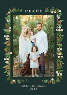 Laurel of pines decorated holiday photo card by Minted artist Jennifer Wick. Available now on Minted.com