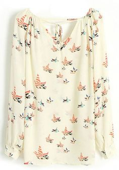 Multicolor Floral Long Sleeve Loose Chiffon Blouse