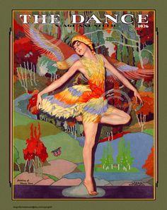 Art Deco Dancer in feathered Bird Costume The Dance stage Vintage Posters, Vintage Art, Vintage Dance, Vintage Vogue, Art Deco Illustration, Illustrations, Dance Magazine, Dance Stage, Bird Costume