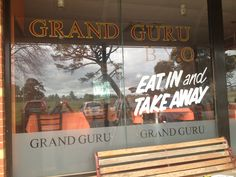 Window graphics designed, printed, cut and installed by Sign A Rama Box Hill for Grand Guru Indian Restaurant. Vinyl stickers as well as window frosting applied to the the windows.