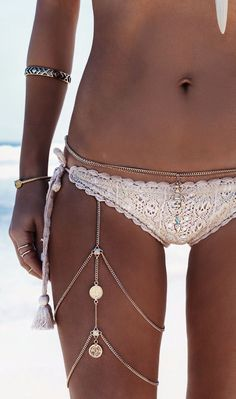 Gypsy Lovin Light Crochet Bikini And Jewelry Beachwear Inspo