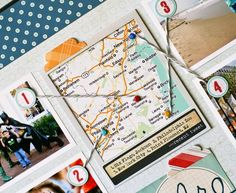 Love this idea for scrapbooking! use a map and connect pictures to the different places you went!