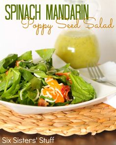 Six Sisters Spinach Mandarin Poppy Seed Salad Recipe  on MyRecipeMagic.com. Perfect for lunch today!!