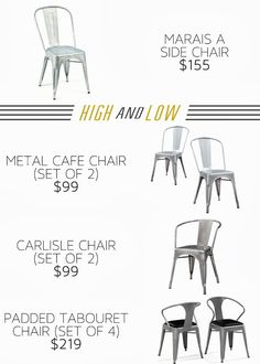 painted chairs - High and Low AFFORDABLE Industrial chairs Metal dining chairs Metal Cafe Chairs, Industrial Dining Chairs, Dining Table Chairs, Side Chairs, Patio Chairs, Adirondack Chairs, Outdoor Chairs, Tables, Ergonomic Kneeling Chair
