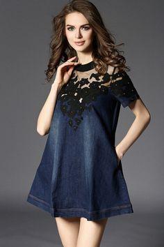 Denim Jeans Cotton Messh Embroidery Patchwork Dress