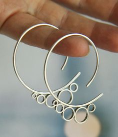 bubble hoops sterling silver earrings - large gauge threader hoops -handmade by lolide