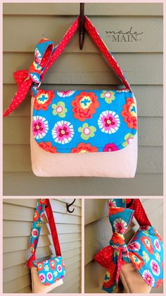 Little Girl's Purse {madeonmainvt} made using the Kid's Messenger Bag Tutorial by Zaaberry--adddition of D-ring to make strap length adjustable. Kids Messenger Bags, Messenger Bag Patterns, Purse Patterns, Fabric Crafts, Sewing Crafts, Sewing Projects, Sewing For Kids, Baby Sewing, Diy For Girls