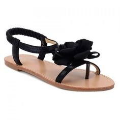 Leisure Flower and Elastic Band Design Women's Sandals