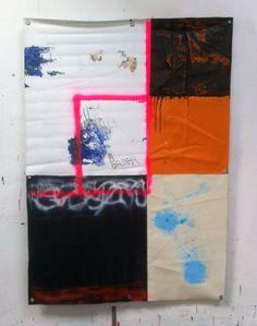 Hermann Josef Hack, BORDER, 140312, painting and spray paint on tarpaulin, 179 x 126 cm, 2014