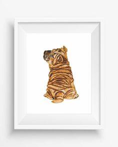 Cute puppy of Sharpei,Sharpei Print,Watercolor ,home pet,digital prints
