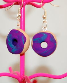 Purple Doughnut Earrings  Polymer Clay  Nickel Free by PunkInPink