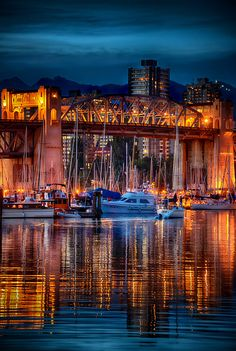This is the Burrard Street Bridge as viewed from the Granville harbour in Vancouver. I took this one summer evening while exploring the shops and sights of Granville market which is a must see when you go to Vancouver. When exploring this part of the. Visit Canada, O Canada, Canada Trip, Alberta Canada, Toronto, Quebec, Calgary, Ottawa, Grande Hotel