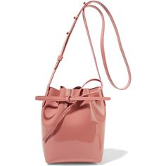 Mansur GavrielMini Mini Patent-leather Bucket Bag (490 CAD) ❤ liked on Polyvore featuring bags, handbags, shoulder bags, blush, mini purse, mini crossbody, white shoulder bag, crossbody purses and white patent leather purse