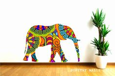 Elephant Wall Decal in colorful pattern Jungle Animal by Popitay, $47.00