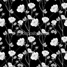 Abstract roses background vintage seamless pattern vector wallpaper retro fabric and wrapping with graphic white roses and leafs summer spring style for decoration and design - Depositphotos
