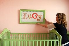 Very cute. I painted a thrift store frame and bought fun letter stickers to make Coco's name. Easy.