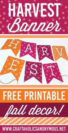 Free Fall Printable Banner on www.CraftaholicsAnonymous.net
