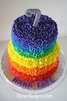 Rose Bakes - Rainbow Messy Ruffles Cake - tip 104 or 121