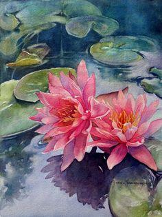 Pink lotus flowers, waterlilies watercolor painting by Yvonne Hemingway. #watercolor #waterlilies #painting #flowers #lotusflower #art