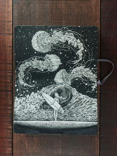 A Good Day for Surfing. Detailed Moleskine Doodles with many Whales. By Kerby Rosanes.