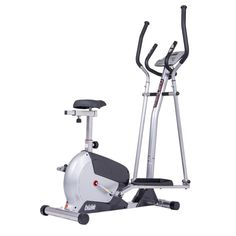 Body Champ 2-in-1 Cardio Dual Trainer, black/Dark Gray. Patented design and Technology provides 2 machines in 1 (elliptical trainer and upright stationary bike). Hassle-free adjustments to switch from mode-to-mode and includes workout DVD to guide you through the exercises. Advanced exercise computer features 16 levels of fully Adjustable resistance, 21+ customizable programs including 12 preset training circuits, and an integrated hand-grip heart rate System. Enhanced comfort and...