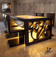 Calligraphy inspired furniture by Mishari Al Tulihi and Emad Al Qattan. The dinning table is sealed with a marble slab that allows light to shine through its surface. All letter are done by hand. Metal Furniture, Unique Furniture, Furniture Decor, Furniture Design, Islamic Decor, Muebles Living, Table Design, Dinning Table, Dining Room