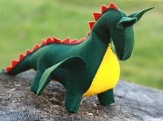 Dragon  waldorf toy  stuffed animal sewn from wool by ElodeaToys