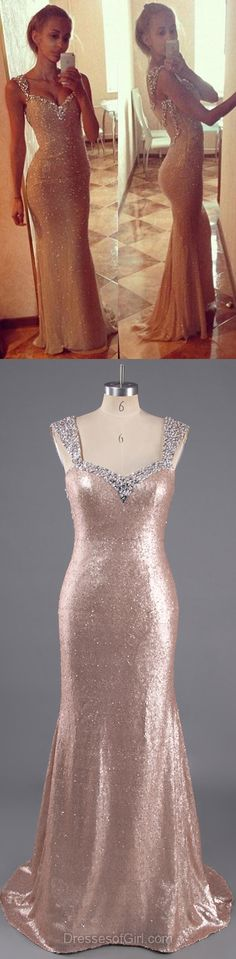 Trumpet/Mermaid V-neck Sequined Sweep Train Beading Prom Dresses