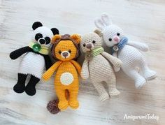 Cuddle Me Lion, Panda, Bear and Bunny - Free crochet patterns
