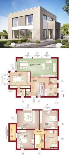 Stadtvilla Modern Mit Klinker Fassade U0026 Flachdach Architektur Im  Bauhaus Stil   Einfamilienhaus Grundriss Haus