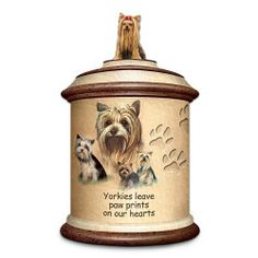 "Tail Waggin' Treats: Yorkie Stoneware Treat Canister Gift For Dog Lover by The Bradford Exchange by Bradford Exchange. $59.95. This collectible dog lover gift is meticulously handcrafted of stoneware with the attractive look of marble and bas-relief, paw-shaped impressions. Treat you and your Yorkie to this striking collectible Yorkie stoneware dog treat canister, a first-of-a-kind available only from The Bradford Exchange. Bears the touching inscription ""Yorkies leave pa..."