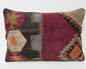 pastel pillow cover 16X24 retro fabric primitive pillow designer cushion oversized floor pillow rustic throw pillow kilim pillow sham 28554