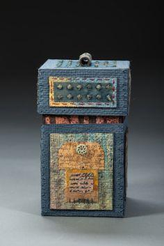 Paper Box.  Handmade Paper, Wax Resist, Stitching. Liberty Paper © Claudia Lee