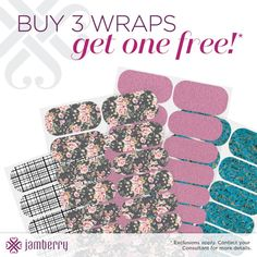 Buy 3, Get 1 FREE!!!  Check out all of our awesome wraps at www.beccybecker.jamberrynails.net