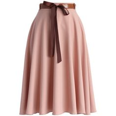Chicwish Tender Flaunts Belted A-line Skirt in Rouge Pink