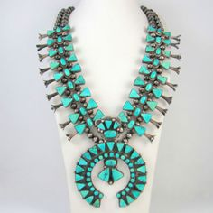 Gorgeous Old Pawn Navajo Sterling Silver Turquoise Squash Blossom Necklace │RS | eBay