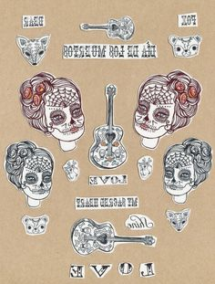 Sugar skull, Temporary tattoo, multi pack of illustrated tattoos, with liquidskin tattoo shine off, Temp. $11.00, via Etsy. (for the birdhouse gourds?)