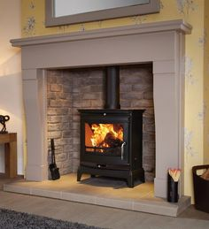 The Rochester Multi Fuel Stove in Black by Flavel Gas Wood Burner, Wood Burner Fireplace, Inglenook Fireplace, Brick Fireplace Makeover, Small Fireplace, Living Room With Fireplace, Fireplace Design, Gas Stove Fireplace, Inset Fireplace