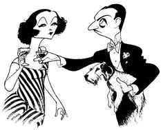 "Nick and Nora Charles and Asta  caricatures from ""The Thin Man"" by Al Hirschfeld! (Myrna Loy and Willam Powell)"