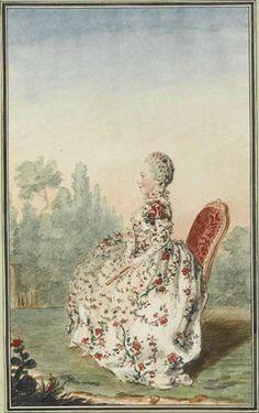 """""""Mlle. de Provenchères"""" by Louis Caroggis Carmontelle (1760)"""