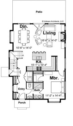 Three Bedroom Cottage (HWBDO68884) | Cottage House Plan from BuilderHousePlans.com