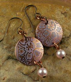 Etched Metal, Beaded Earrings, Opal Pearls E614 | ccdesignjewelry - Jewelry on ArtFire