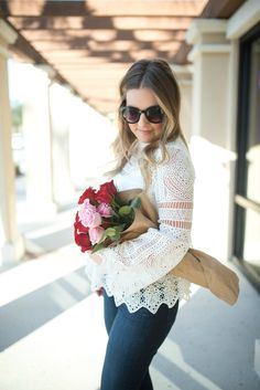Crochet lace peplum top and skinny ankle jeans