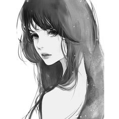 Anime girl, back, brown hair, pretty Anime ❤ liked on Polyvore featuring anime, art, girls, drawings, filler, doodles, backgrounds and scribble