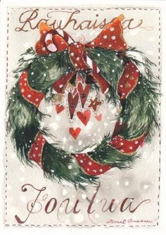 Minna L. Christmas Words, Christmas Wreaths, Christmas Ornaments, Christmas Ideas, Christmas Cartoons, Christmas Illustration, Winter Cards, Merry And Bright, Gift Wrapping