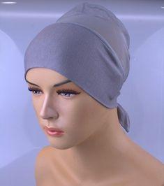 Grey & No Slip Headband-All In One Hat-Great under tichel,head scarves, chemo,head coverings volumizing hijab headpiece bun