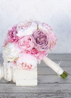Silk Bride Bouquet Peony Pink Cream Purple Rhinestones Pearls Shabby Chic…