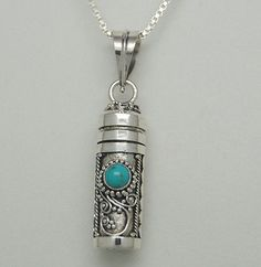 TURQUOISE CREMATION JEWELRY TURQUOISE URN NECKLACE STERLING SILVER URN PENDANT