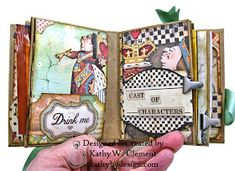 Stamperia Alice ATC Tea Box Mini Album Tutorial - Kathy by Design Mini Scrapbook Albums, Scrapbook Pages, Scrapbooking Ideas, Chicken Scratch Embroidery, Mini Album Tutorial, Atc Cards, Craft Cards, Tea Box, Mad Hatter Tea